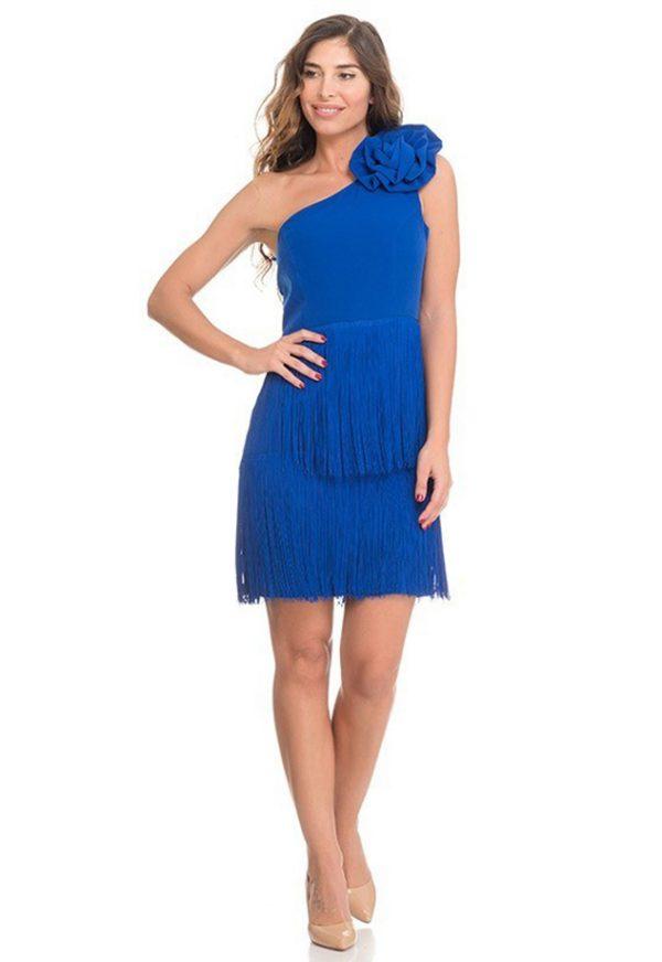 Vestidos de Fiesta Madrid Me Pido Este Vestido Azul Flecos F00005-1